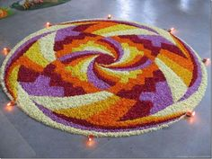 Big list Flower Rangoli Designs ideas and pictures for this ganesh chaturthi or any other Indian festivals. Learn flower rangoli designs for competition with flowers. Best Rangoli Design, Indian Rangoli Designs, Rangoli Designs With Dots, Beautiful Rangoli Designs, Mehndi Designs, Happy Diwali Rangoli, New Year Rangoli, Rangoli Patterns, Rangoli Ideas