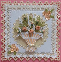 Poppyscabin: Basket of pretty peach flowers Making Greeting Cards, Greeting Cards Handmade, Scrapbooking, Scrapbook Cards, Card Basket, Marianne Design Cards, Card Making Designs, Spellbinders Cards, Anna Griffin Cards