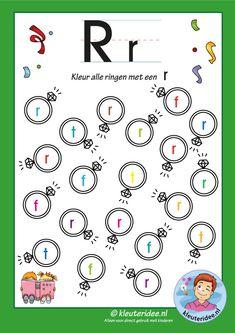 Pakket over de letter r, blad 6, kleur alle ringen met een r, letters aanbieden aan kleuters, kleuteridee