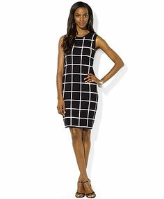 Lauren Ralph Lauren Petite Sleeveless Checked Crew-Neck Dress