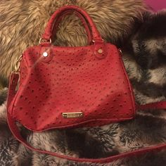 Steve Madden Satchel Red faux ostrich leather, black and white zigzag lining. Excellent condition. comes with shoulder strap. Back outer zip side pocket, one zippered inside pocket, two open pockets (one for cell phone). Gold tone hardware. Classy!  Steve Madden Bags Satchels