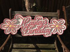 Custom Carved Wooden Surf-Style Birthday Sign by WordsInWood on Etsy