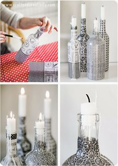 Pretty Diy Self Bottle Candle Holders Brush Decoupage Lacquer .