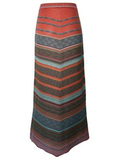 Our intriguing A-line skirt is jacquard knit in textural stripes that miter to a pointed hem. In watermelon, apricot, raisin and sky blue pima.
