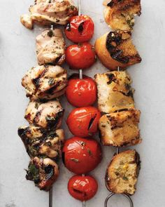 Chicken, Tomato and Bread Cubes with Lemon-Oregano Marinade