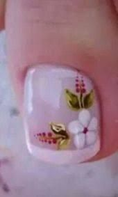 Imagen relacionada Pedicure Designs, Diy Nail Designs, Nail Designs Spring, Nail Polish Designs, Nail Manicure, Diy Nails, Nails Only, Feet Nails, Flower Nail Art