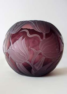 Etched Amethyst Glass Bubble Vase, 'Tulips' by Marialyce Hawke