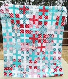 Twin Size Quilt Positively in reds aquas by southerncharmquilts, $315.00