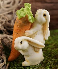 Rabbits Carrying Carrot Figurine #zulily #zulilyfinds