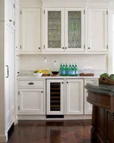 Home Improvement Ideas - White Kitchen Cabinets with Glass Doors & Chelsea Cabinet Door Style - Wide-Panel Cabinetry with Fine ... kurilladesign.com