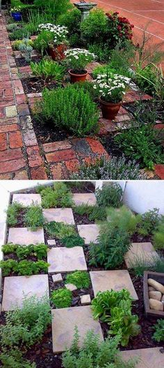 The Checkerboard Herb Garden. Even if it rains you can get to your herbs. 22 Ways for Growing a Successful Vegetable Garden #indoorvegetablegardening #Containervegetablegardening #raingarden