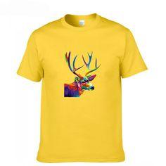 Colorful Deer Fashion Print 100% Cotton Men's T-shirt