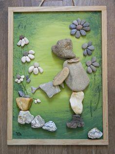 Stone Pictures Pebble Art, Stone Art, Stone Crafts, Rock Crafts, Pebble Painting, Stone Painting, Beach Rock Art, Pebble Art Family, Rock And Pebbles
