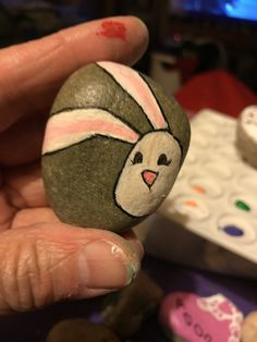 Bunny stone painting