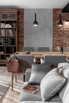 [New] The 72 Best Home Decor Ideas Today (with Pictures) - Small spaces can still be and stylish! Design your interior wisely and make sure to keep your room feeling warm and comfortable for you . Brick Interior, Interior Design Living Room, Living Room Designs, Interior Decorating, Home Living Room, Living Room Decor, Living Spaces, Concrete Interiors, Scandinavian Style Home