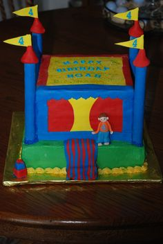 Birthday Cake Jump Houses   cake made for a sweet little guy who had his 4th birthday at a bounce ...