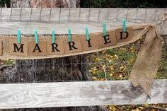 just married banner burlap swag  wedding just by montanasnow, $20.00