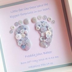 Button Footprints ~ Button Art ~ Baby Boy Gift ~ Boys Bedroom Decor~ New Baby Gift ~ Personalised Baby Gift ~ Christening Gift is part of Button crafts For Boys This super cute foot print button pic - Button Art, Button Crafts, Print Button, Crafts With Buttons, Baby Crafts, Crafts For Kids, Summer Crafts, Holiday Crafts, Moldes Para Baby Shower