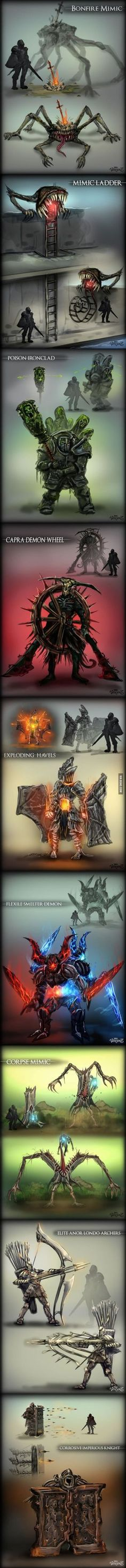 Very creative! Dark Souls ftw. I don't think I could handle any of these, and that mimic corpse, a sweet prize disguised as death!
