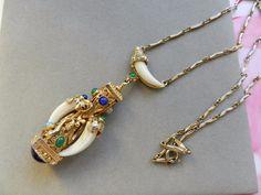 Vintage Kenneth Jay Lane KJL etruscan pendant necklace horn