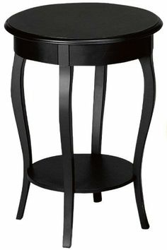 """Hamilton Accent Table, 25""""Hx18""""D, BLACK by Home Decorators Collection. $217.99. Assembly required.. 25""""H x 18"""" diameter.. With a transitional design that blends the classic and contemporary, this accent table offers strong, clean lines enriched by distinctive details and your choice of rich finishes. With its gently curving legs and smooth, wide top, this living room furniture piece will look great as a part of your home. Order yours today. Expertly crafted of wood. ..."""