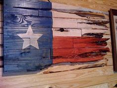 """My first """"tattered"""" Texas Flag.  Made using scrap 1"""" x 4"""" boards.  The more ragged, the more knotholes, the better!    Patricia Smoot 2010"""