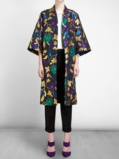 Osman Brocade Kimono Coat - Browns - Farfetch.com