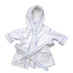 Personalized bathrobe, similar to the Prince George robe. Badekåbe hvid med blå kant