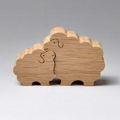 組み木 木のおもちゃ 『遊プラン』 KA161 | ヒツジのカップル