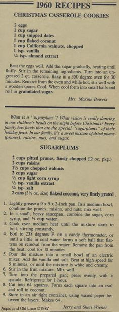 1960 Recipes - Christmas Casserole Cookies and Sugarplums