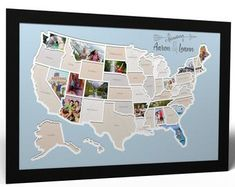 Personalized 50 States Photo Map - A Unique USA Travel Collage Travel Collage, Travel Maps, Travel Usa, Rustic Wall Decor, Rustic Walls, Online Map Maker, Wooden Map, Create Picture, Photo Maps