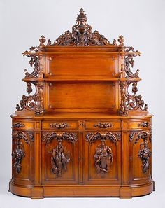 Sideboard  Alexander Roux  (1813–1886)  Date: ca. 1853 Geography: Mid-Atlantic, New York City, New York, United States Culture: American Medium: Black walnut, pine