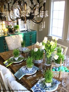 Simple Details: planting wheat grass for Easter. It's time... about two weeks before Easter is perfect timing to ensure you have a thick lush wheat grass centerpiece ~ I love the fresh bright pop and texture it adds.