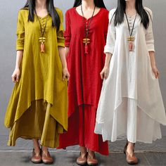 Top Fashion 2017 Autumn Women Casual Loose Long Sleeve Dress Cotton Linen Solid Long Maxi Dress Vestidos Plus Size - Olivia Maxi Dresses Gypsy Dresses, Linen Dresses, Women's Dresses, Casual Dresses, Fashion Dresses, Casual Shoes, Fashion 2017, Boho Dress, Fashion Women