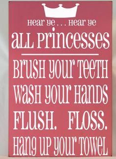 princess bathroom rules subway art typography word art handpainted wooden sign your choice of color