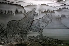 Custom handcrafted interior partition Etched Glass, Glass Etching, Vancouver Island, Moose Art, Custom Design, Carving, Studio, Interior, Animals