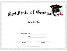 This Graduation Certificate features a mortarboard with a rolled up diploma wrapped in a red ribbon. Free to download and print