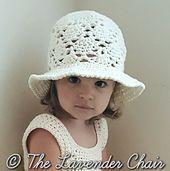Vintage Sun Hat (Infant - Child) Crochet Pattern - The Lavender Chair Crochet Summer Hats, Crochet Summer Dresses, Crochet Kids Hats, Crochet Bebe, Crochet Girls, Crochet Yarn, Free Crochet, Crochet Granny, Double Crochet