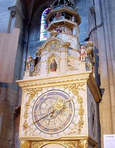 In the cathedral, you have the ability to admire one of the oldest astronomical clock in France. Its wrought iron mechanism was created during the XIVth century and contains a religious calendar, a perpetual calendar, and a surprising oval minute face. At 12, 14 and 15 o'clock sharp, several automatons give life, for few seconds, to that clock.
