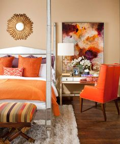 IBB-Design-Fine-Furnishings-photography-by-Dan-Piassick.png - Love the artwork which has inspired me to do some more painting! Orange Bedroom Decor, Fall Bedroom Decor, Bedroom Ideas, Orange Home Decor, Purple Bedrooms, Bedroom Designs, Ibb Design, Design Design, Orange Gris