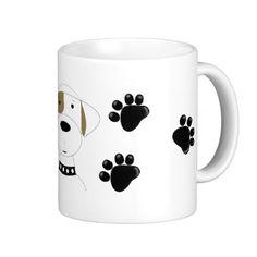 Cool Dog with Paw Prints Mug #dogs #mug