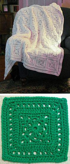 Grecian Tiles afghan, free pattern by C. L. Halvorson of Happy Yellow House  . . . .   ღTrish W ~ http://www.pinterest.com/trishw/  . . . .   #crochet #blanket #throw #lacy
