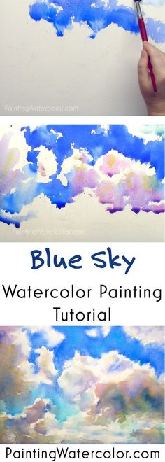 Blue Sky Sketching watercolor painting tutorial by Jennifer Branch (watercolor paintings) Watercolor Clouds, Watercolor Tips, Watercolour Tutorials, Watercolor Techniques, Watercolor Landscape Tutorial, Paint Techniques, Watercolor Pencils, Painting Lessons, Art Lessons