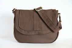 Messenger Bag Canvas Chocolate Brown Bag Medium Canvas by Unify