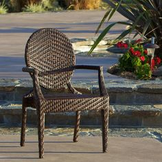 Christopher Knight Home Adriana Brown PE Wicker And Iron Frame Wide Legged Outdoor  Chair