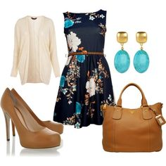 Work clothes - Printed dresses with cardigans or suit jackets.