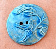 Extra Large Bird Button in Sky Blue by beadfreaky on Etsy, $6.00