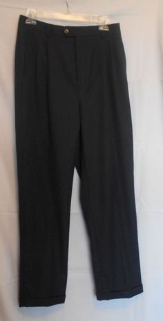 Bertucci Black Striped Pants Size 20 Poly Rayon Pleated Front Fly 4 Pockets #Bertucci #DressPants