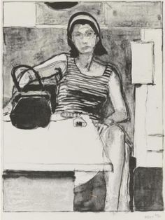 Richard Diebenkorn - I love this figure with the purse in front of her. The purse is the largest dark shape in the picture, then from there our eye moves up the arm of the figure.