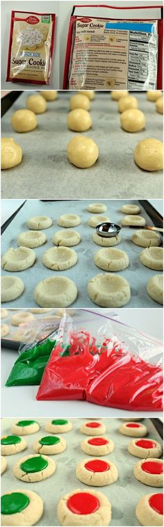 Christmas Thumbprint Cookies - I NEVER thought to use a ROUND spoon to make the indentation for the filling (see picture)